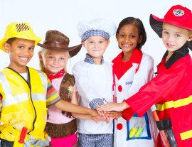 kids in wearing job uniform costume