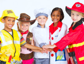 kids in wearing job uniform costume